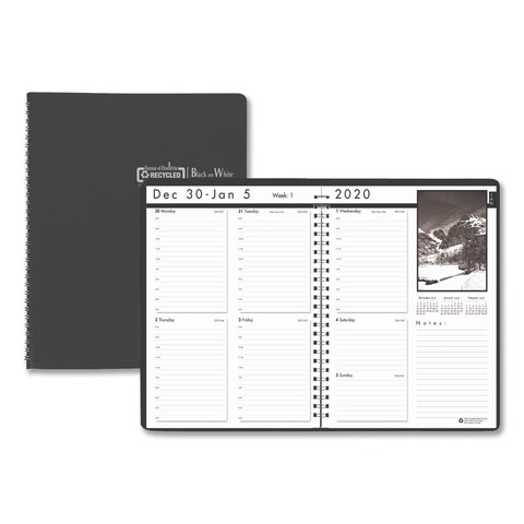 House of Doolittle Weekly Planner w/Black-&-White Photos, 8-1/2 x 11, Black, 2019