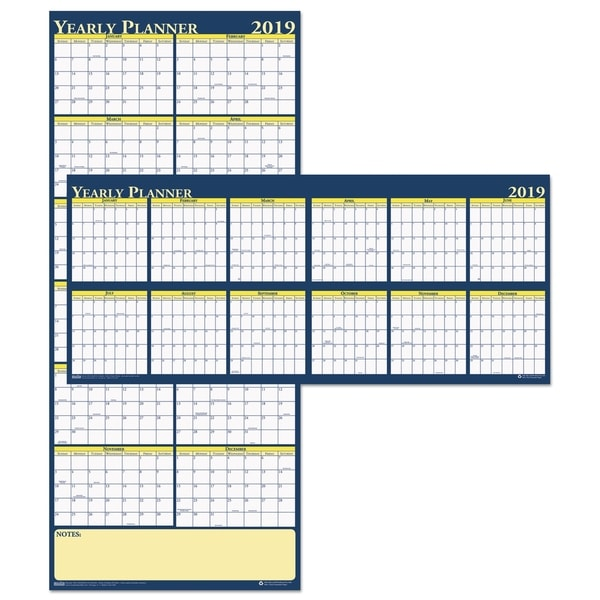 House of Doolittle Recycled Reversible Yearly Wall Planner, 60 x 26, 2019