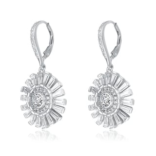 Collette Z Sterling Silver Cubic Zirconia Radiant Lever Earrings