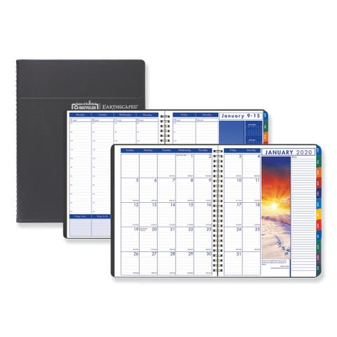 House of Doolittle Recycled Earthscapes Weekly/Monthly Planner, 11 x 8 1/2, Black, 2020