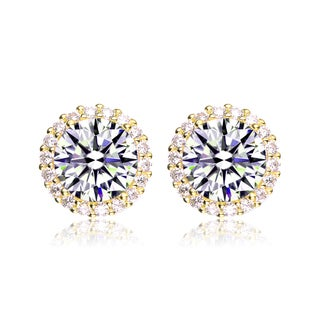 Collette Z Gold Overlay Cubic Zirconia Button Earrings