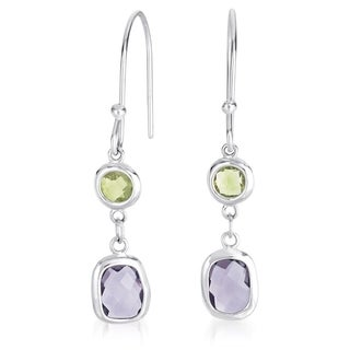Collette Z C.Z. Sterling Silver Rhodium Plated Amethyst And Lime Euro Drop Earrings
