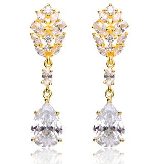Collette Z CZ Sterling Silver Gold Plated Fancy Earrings