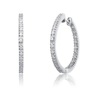 Collette Z C.Z. Sterling Silver Rhodium Plated Inside Out Paved Earrings