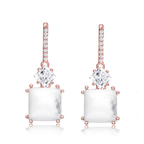 Collette Z Sterling Silver with Rose Gold Plated White Princess Howlite and Clear Cubic Zirconia Drop Earrings
