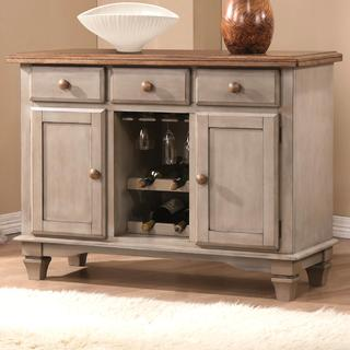 Rustic Antique Cottage Design Two-tone Dining Storage Buffet Server