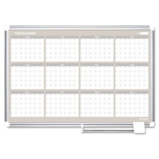 MasterVision 12 Month Planner 48x36 Aluminum Frame