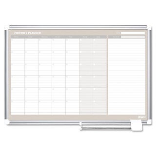 MasterVision Monthly Planner 36x24 Silver Frame