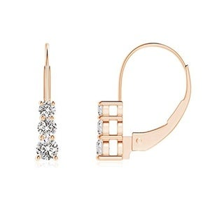 Collette Z C.Z. Sterling Silver Gold Plated Three Stone Earrings