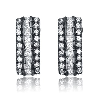 Collette Z Sterling Silver Black and Clear Cubic Zirconia Earrings