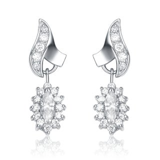 Collette Z Sterling Silver Cubic Zirconia Flame Earrings