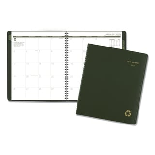 AT-A-GLANCE Recycled Monthly Planner, 9 x 11, Green, 2018-2019