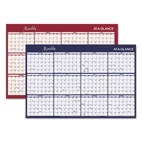 AT-A-GLANCE Reversible Horizontal Erasable Wall Planner 48 x 32 2017