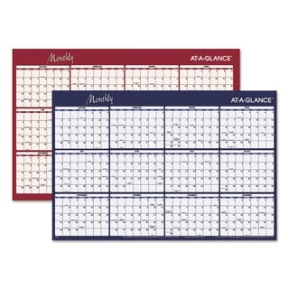AT-A-GLANCE Reversible Horizontal Erasable Wall Planner, 48 x 32, 2018