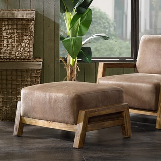 INK+IVY Easton Taupe/ Natural Faux Leather Ottoman