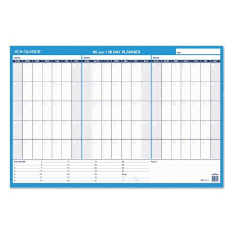 AT-A-GLANCE 90/120-Day Undated Horizontal Erasable Wall Planner 36 x 24 White/Blue