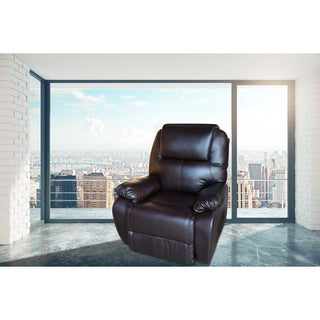 Belle Brown Faux Leather Modern Style Heated Vibrating Massage Recliner chair