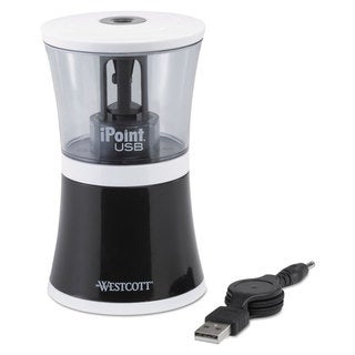 iPoint USB/Battery Operated Pencil Sharpener Black 5 7/8-inch wide x 3 1/8-inch deep x 8 1/2h