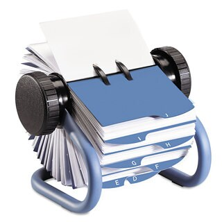 Rolodex Colored Open Rotary Business Card File with 24 Guides Blue