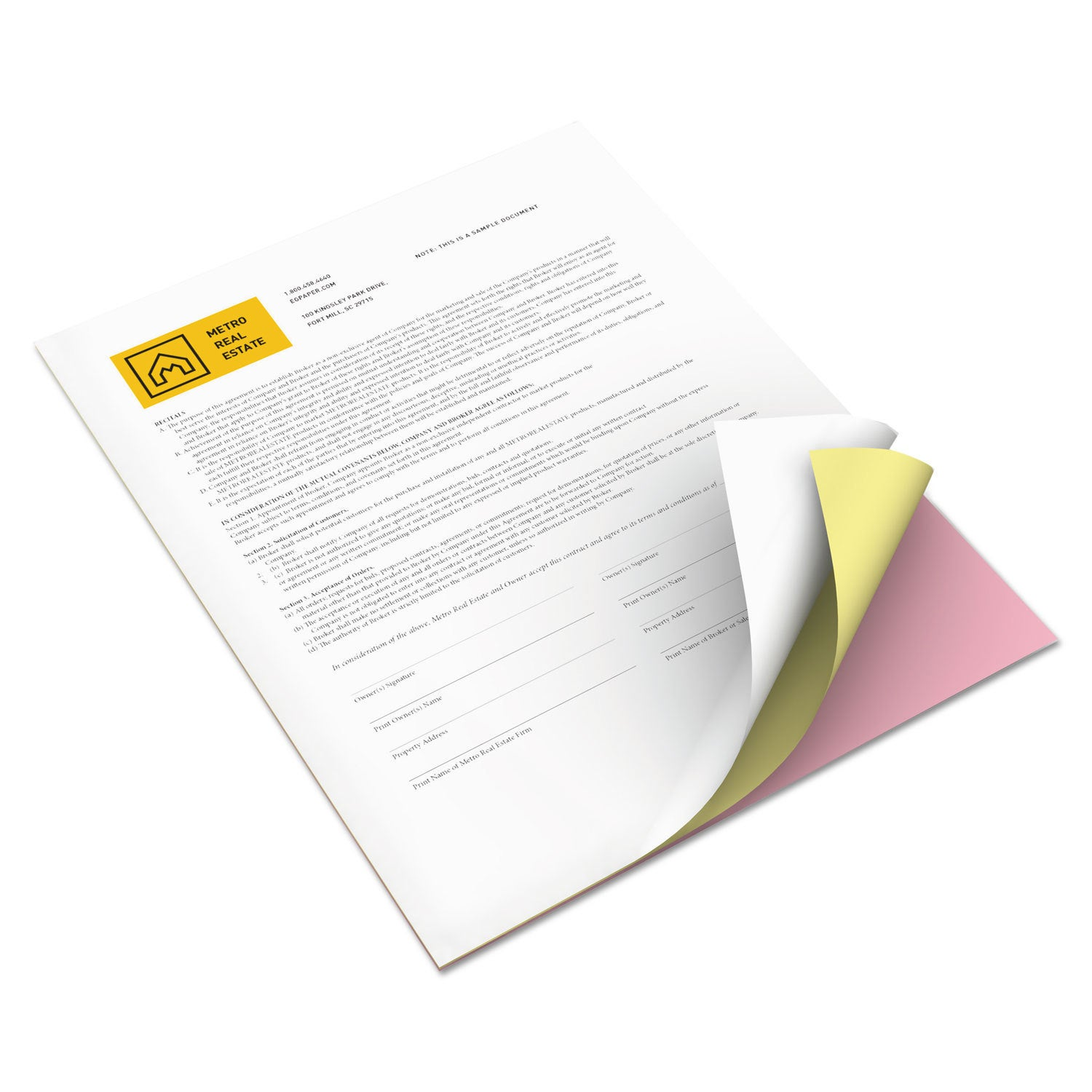 Xerox Bold Digital Carbonless Paper 8 1/2 x 11 Pink/Canar...