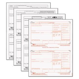 TOPS W-2 Tax Forms 4-Part 8 1/2 x 5 1/2 Inkjet/Laser 50 W-2s & 1 W-3