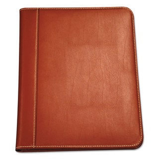 Samsill Contrast Stitch Leather Padfolio 8 1/2 x 11 Leather Tan