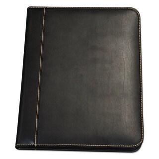 Samsill Contrast Stitch Leather Padfolio 8 1/2 x 11 Leather Black