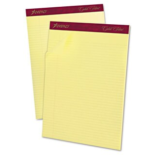 Ampad Gold Fibre Pads 8 1/2 x 11 3/4 Canary 50 Sheets Dozen