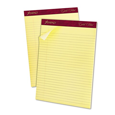 Ampad Gold Fibre Ruled Pad 8 1/2 x 11 3/4 Canary 50 Sheets Dozen