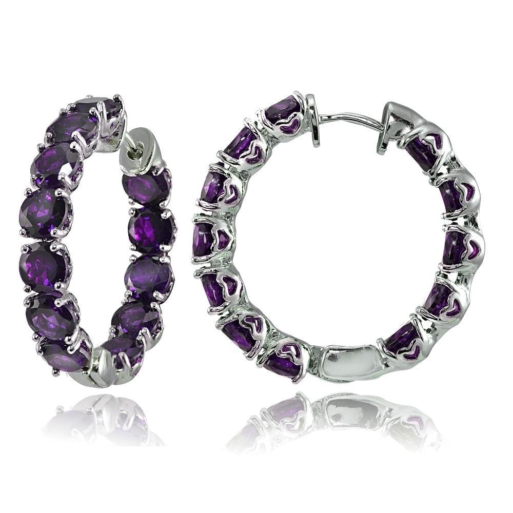 Glitzy Sterling Silver 5mm Gemstone Hoop Earrings (Blue T...