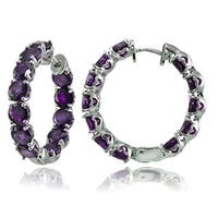 Glitzy Rocks Sterling Silver 5mm Gemstone Hoop Earrings
