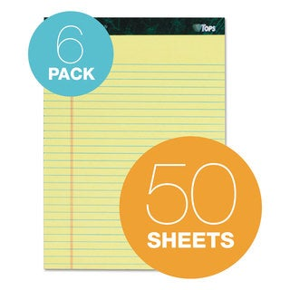 TOPS Docket Ruled Perforated Pads 8 1/2 x 11 3/4 Canary 50 Sheets 6/Pack