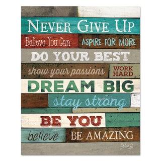 "DAX Motivational Poster 16 x 20 ""Never Give Up"" Dark Walnut"