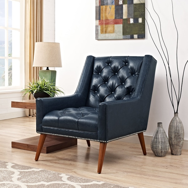 Peruse Daimond Tufted Faux Leather Armchair
