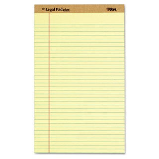 TOPS The Legal Pad Ruled Perforated Pads Legal/Wide 8 1/2 x 14 Canary Dozen