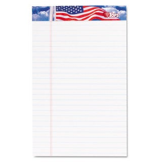 TOPS American Pride Writing Pad Narrow 5 x 8 White 50 Sheets Dozen