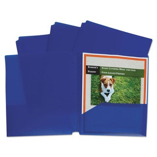C-Line Two-Pocket Heavyweight Poly Portfolio Folder 3-Hole Punch Letter Blue 25/Box