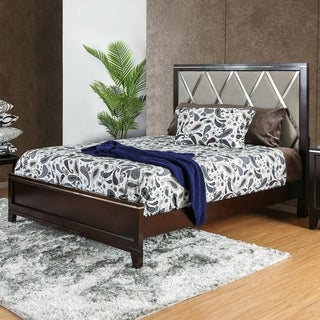 Furniture of America Derraugh Contemporary Diamond Tufted Padded Cherry Bed