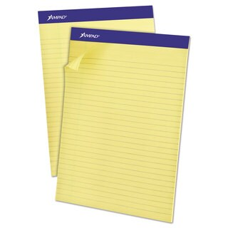 Ampad Recycled Writing Pads 8 1/2 x 11 3/4 Canary 50 Sheets Dozen
