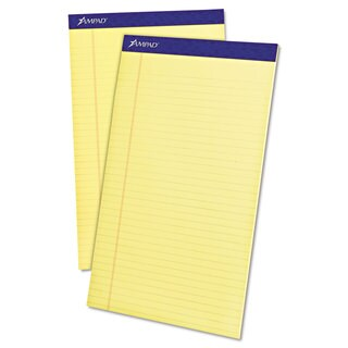 Ampad Perforated Writing Pad 8 1/2 x 14 Canary 50 Sheets Dozen