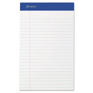 Ampad Perforated Writing Pad Narrow 5 x 8 White 50 Sheets Dozen