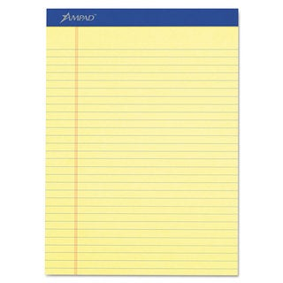 Ampad Perforated Writing Pad 8 1/2-inch x 11 3/4-inch Canary 50 Sheets Dozen