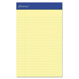 Ampad Perforated Writing Pad Narrow 5 x 8 Canary 50 Sheets Dozen