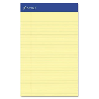 Ampad Perforated Writing Pad Narrow 5 x 8 Canary 50 Sheets Dozen