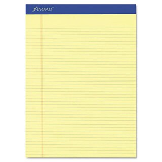 Ampad Perforated Writing Pad 8 1/2 inches x 11 3/4 inches Canary 50 Sheets Dozen