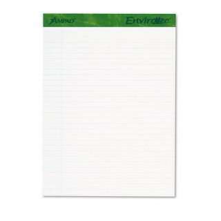 Ampad Earthwise Recycled Writing Pad 8 1/2 x 11 3/4 White 40 Sheets 4/Pack