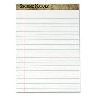 TOPS Second Nature Recycled Letter Pads Lgl/Red Margin Rule White 50 Sheets Dozen