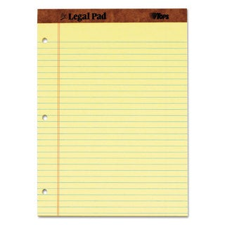 TOPS The Legal Pad Ruled Perf Pad Legal/Wide 8 1/2 x 11 3/4 Canary 50 Sheets DZ