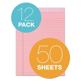 TOPS Prism Plus Colored Legal Pads 8 1/2 x 11 3/4 Pink 50 Sheets Dozen