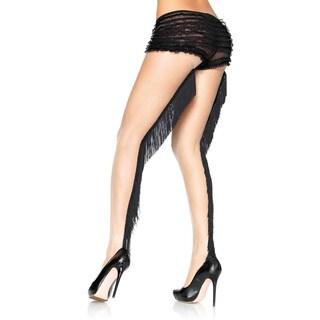 Leg Avenue Women's Lycra Sheer Pantyhose with Fringe Backseam